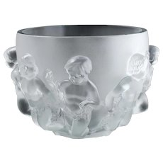 Lalique Dancing Cherub Frosted Crystal Bowl Vase