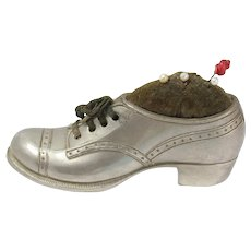 Vintage Silver Tone Shoe Pin Cushion With Pins