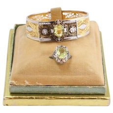 Vintage Buckle Bracelet w/Matching Sterling Silver Citrine Stone Ring