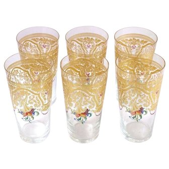 6 Piece Gold w/ Hand-Painted Floral Drinking Glasses