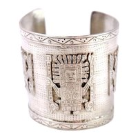 "Vintage Sterling Silver Open Cuff Bracelet Designed With ""Viracocha"" The Inca Creator Deity"