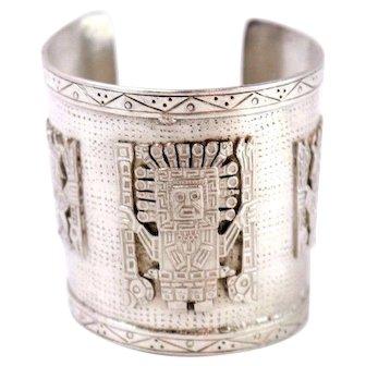 Vintage Mexican Sterling Silver Open Cuff Bracelet Tribal Design