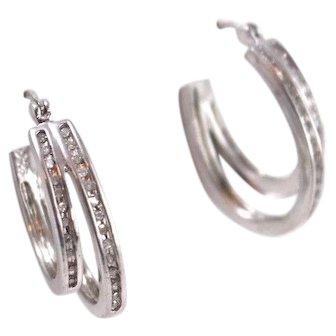 Fine Sterling Silver and Diamond Double Drop Hoop Earrings