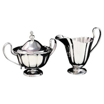 Spaulding & Co. Dublin Sterling Silver Creamer and Lidded Sugar Set #580