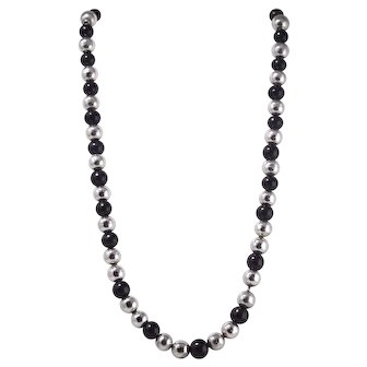 Vintage Sterling Silver and Black Onyx Beaded Necklace