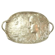 Peter Tereszczuk Signed Gold Bronze Tray With Fair Maiden Relief