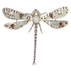 Victorian Sterling SIlver Jewled Dragonfly Necklace Pendant