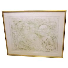 Hibel Artist Proof Second Stone Lithograph 1976, Serina and Children