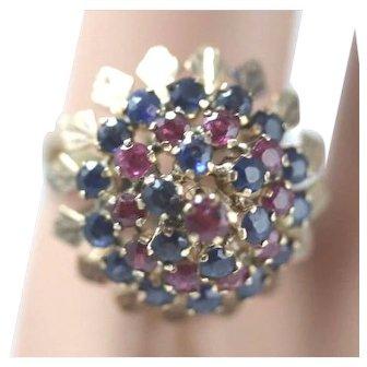 18K Vintage European Dome Ring w/Rubies & Sapphires - Size 6