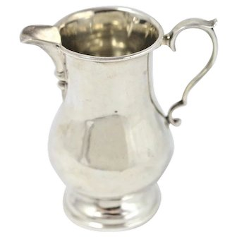 Vintage Sterling Silver George II creamer pitcher with decorative handle
