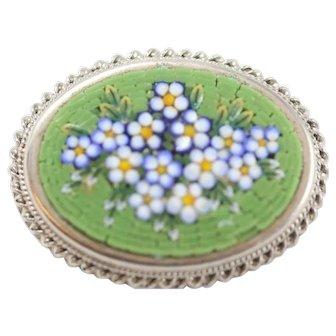 Vintage Micro Mosaic Green Pin/Brooch
