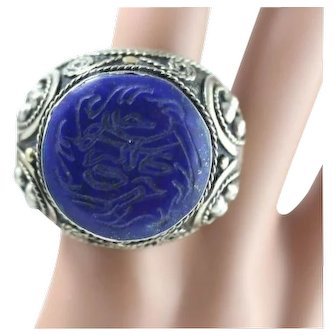 HUGE Sterling Silver Blue Pendant Ring - Size 10.5