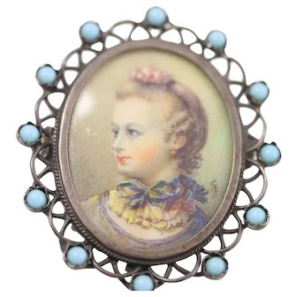 Vintage Sterling Silver 800 Germany Hand Painted Portrait Brooch/Pin