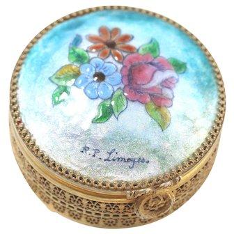 Enamel Sugned R.P Limoges Footed Trinket Vanity Box