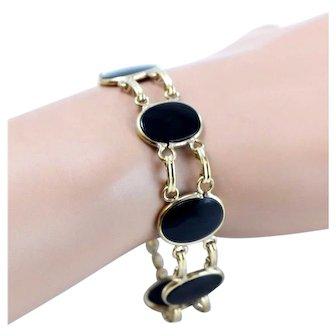 Fine Vintage Gold-Filled Onyx Link Bracelet