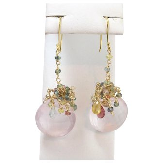 Pair of 18k Yellow Gold Pink Chalcedony And Gemstone Dangle Earrings