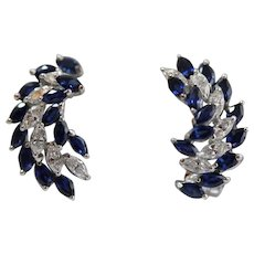 Pair Of Extra Fine Platinum Pair Of Sapphire And Diamond Ear Clips