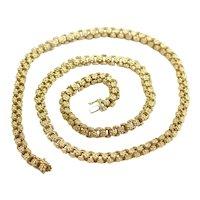 Antique 750/18k Gold Necklace, Handmade, Art Nouveau, Belle Époque, European  Floral Link Design