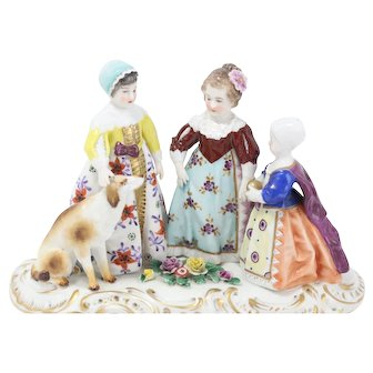 Rare Dresden The 3 Graces As Children Figural Grouping