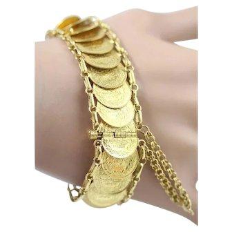 Vintage 22K Ottoman Empire Turkey Kurush Gold Coin Bracelet