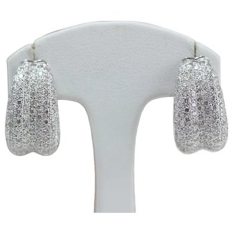 Pair Of 18k White Gold Pave Set Diamond Earrings With Omega Back Closure Over 2 Carats