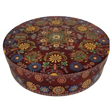 Hand Painted Round Wooden Storage Trinket Box