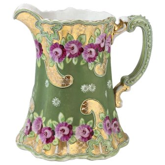Antique Nippon Moriage Pink Floral Pitcher Green And Gold Design