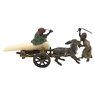 Cold Painted Bronze Figural Grouping Boys With Mule