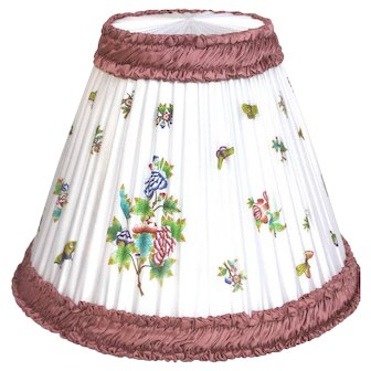 Vtg 80's Silk Herend Lampshades, Large. Queen Victoria Pattern. Hand-Painted 17'