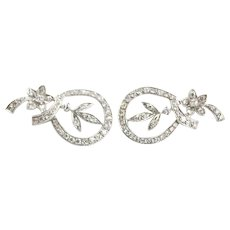 Pair Of 14k White Gold Floral And Swirl Foliate Over 1.5 Diamond Earrings