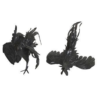 2x Antique Gallic Rooster Sculptures, Bronzed Metal. French Country