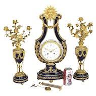 1890's Tiffany Ormolu-Set Porcelain Clock, Garniture. French. Sevres-Style.