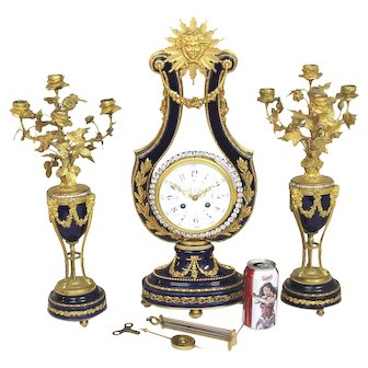 1890's Tiffany Ormolu-Set Porcelain Clock, Garniture. French. Sevres-Style.