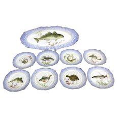 Royal Copenhagen Fish Platter With 8 Serving Plates High Detail Hand Painted