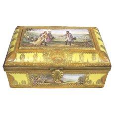 Antique French Jewelry Box, Gilt Bronze/Enameled Porcelain. Sevrés. Napoleon