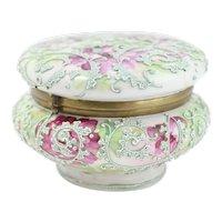 Nippon Moriage Lidded Trinket box With Raised Green Swirls And Purple Flowers