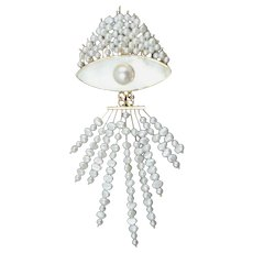 Vtg 14k Gold Pendant-Brooch, Pearls, Mother of Pearl Relief. Art Deco Revival