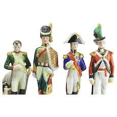 Antique 1800's Sitzendorf Porcelain Napoleonic Soldier Figurines, Painted Group Of 4
