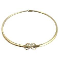 Vintage 14k Gold Omega Necklace w/Diamond-Studded Infinite Slide