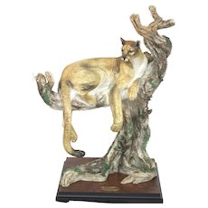 """Giuseppe Armani Figurine Silent Watch Cougar, 19""""H With Base Limited Addition"""