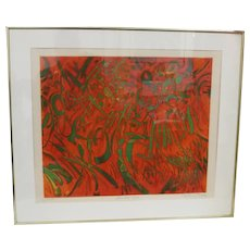 """Gabor Peterdi Framed Relief Etching, """"Lanikai Red"""" 1969, Limited Edition 45 of 75"""