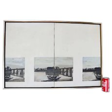 George Deem Framed Oil Border Painting 1963