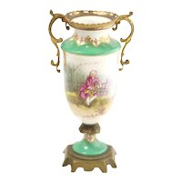 Antique Ormolu Vase, Sèvres-Style Hand Painted Lonely Lover Gold Bronze. Rococo