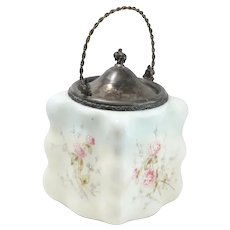 Antique Milk Glass Biscuit Jar With Hand Painted Floral Designs