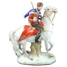 19th Century Hung Husiar Mounted on Horse Meissen Figurine (Mold 1132)