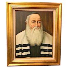 "Vtg Original Oil Painting of Rabbi. W. Topman. Dutch. 27"" x 23"". Mid Century?"