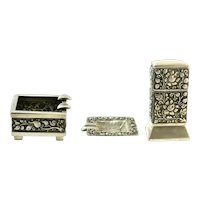 Yogya Vintage 800 Silver Ashtray Set, Includes Trays and Table Lighter