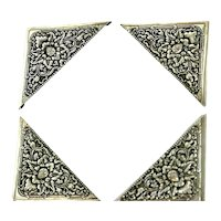 Yogya Vintage 800 Silver Calendar Corners w/ Lotus Design