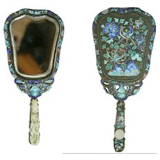 Antique Chinese Bird/Floral Hand Mirror w/Jade Handle. Beveled Glass, Enameled.