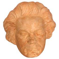 Vtg 70's Terracotta Beethoven Decorative Death Mask, Lifesize. Arts & Crafts